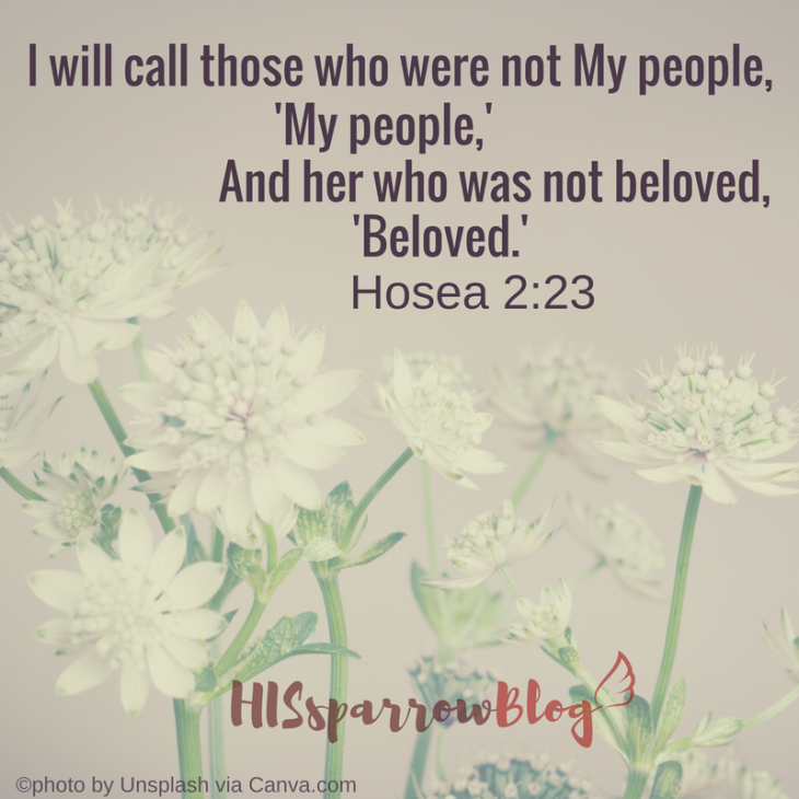I will call those who were not My people, 'My people,' And her who was not beloved, 'Beloved.' Hosea 2:23 | HISsparrowBlog | #Christian living, #quotes, #scripture