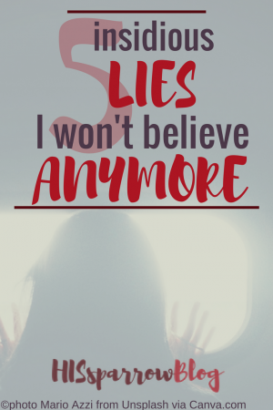 5 Insidious Lies I Won't Believe Anymore | HISsparrowBlog | Christian living