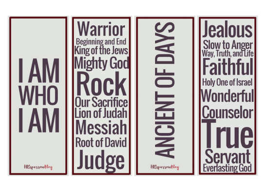 Names and Attributes Bookmarks | HISsparrowBlog | Christian living, printable