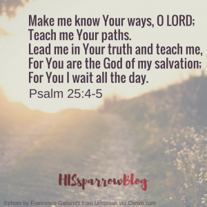Make me know Your ways, O LORD; Teach me Your paths. Lead me in Your truth and teach me, For You are the God of my salvation; For You I wait all the day. Psalm 25:4-5 | HISsparrowBlog | Christian living, waiting