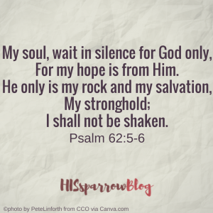 My soul, wait in silence for God only, For my hope is from Him. He only is my rock and my salvation, My stronghold; I shall not be shaken. Psalm 62:5-6 | HISsparrowBlog | Christian living, waiting