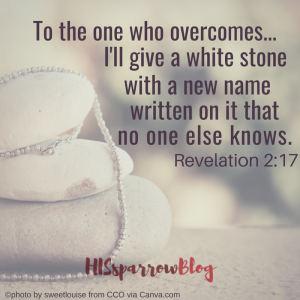 To the one who overcomes... I'll give a white stone with a new name written on it that no one else knows. Revelation 2:17 | HISsparrowBlog