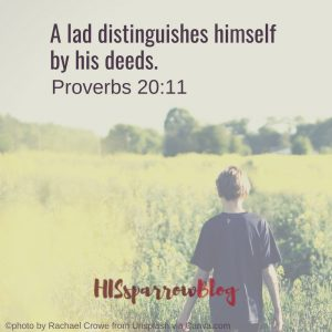 A lad distinguishes himself by his deeds. Proverbs 20:11