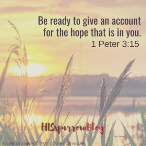 Be ready to give an account for the hope that is in you. 1 Peter 3:15