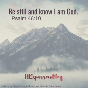Be still and know I am God. Psalm 46:10