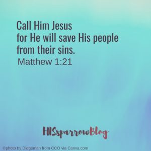 Call Him Jesus for He will save His people from their sins. Matthew 1:21