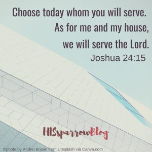 Choose today whom you will serve. As for me and my house, we will serve the Lord. Joshua 24:15