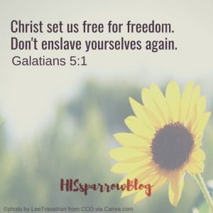 Christ set us free for freedom. Don't enslave yourselves again. Galatians 5:1