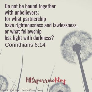 Do not be bound together with unbelievers; for what partnership have righteousness and lawlessness, or what fellowship has light with darkness? 2 Corinthians 6:14