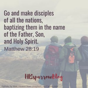 Go and make disciples of all the nations, baptizing them in the name of the Father, Son, and Holy Spirit. Matthew 28:19