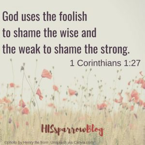 God uses the foolish to shame the wise and the weak to shame the strong. 1 Corinthians 1:27