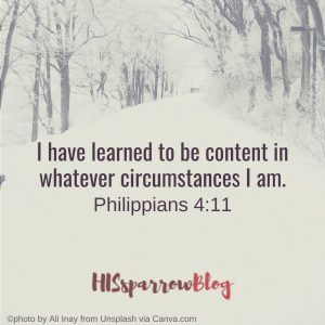 I have learned to be content in whatever circumstances I am. Philippians 4:11