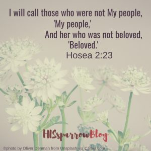 I will call those who were not My people, 'My people,' And her who was not beloved, 'Beloved.' Hosea 2:23