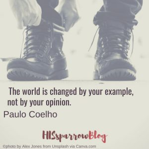 The world is changed by your example, not by your opinion. Paulo Coelho