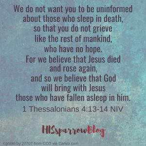 We do not want you to be uninformed about those who sleep in death, so that you do not grieve like the rest of mankind, who have no hope. For we believe that Jesus died and rose again, and so we believe that God will bring with Jesus those who have fallen asleep in Him. 1 Thessalonians 4:13-14 NIV