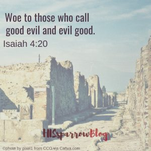 Woe to those who call good evil and evil good. Isaiah 4:20