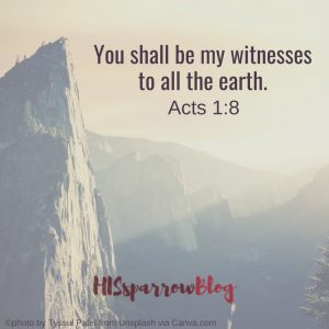 You shall be my witnesses to the ends of the earth. Acts 1:8