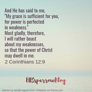 """And He has said to me, """"My grace is sufficient for you, for power is perfected in weakness."""" Most gladly, therefore, I will rather boast about my weaknesses, so that the power of Christ may dwell in me. 2 Corinthians 12:9 